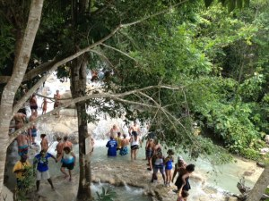 People climbing Dunns River Falls
